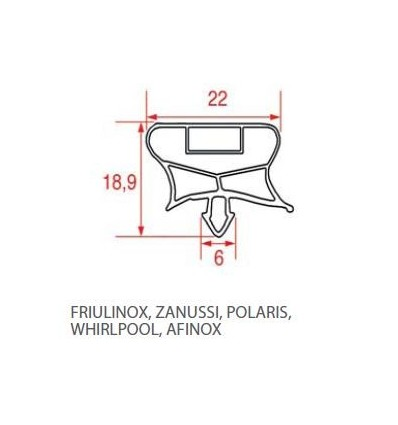 Gaskets for refrigerators POLARIS WHIRLPOOL AFINOX FRIULINOX