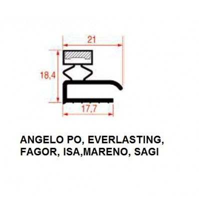 Guarnizioni per Frigoriferi ANGELO PO, EVERLASTING, FAGOR, ISA, MARENO, SAGI