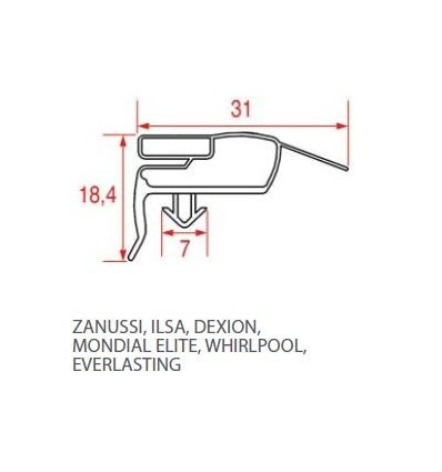 Gaskets for refrigerators ZANUSSI-ILSA-DEXION-MONDIAL ELITE-WHIRLPOOL-EVERLASTING