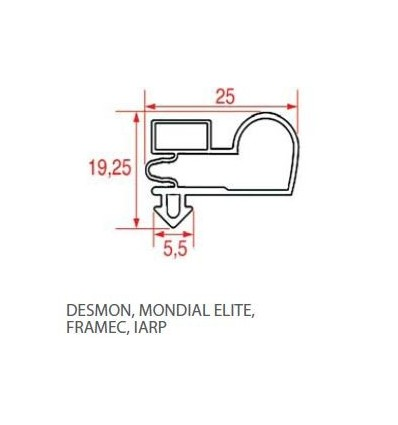 Gaskets for refrigerators the DESMON-MONDIAL ELITE-FRAMEC-IARP