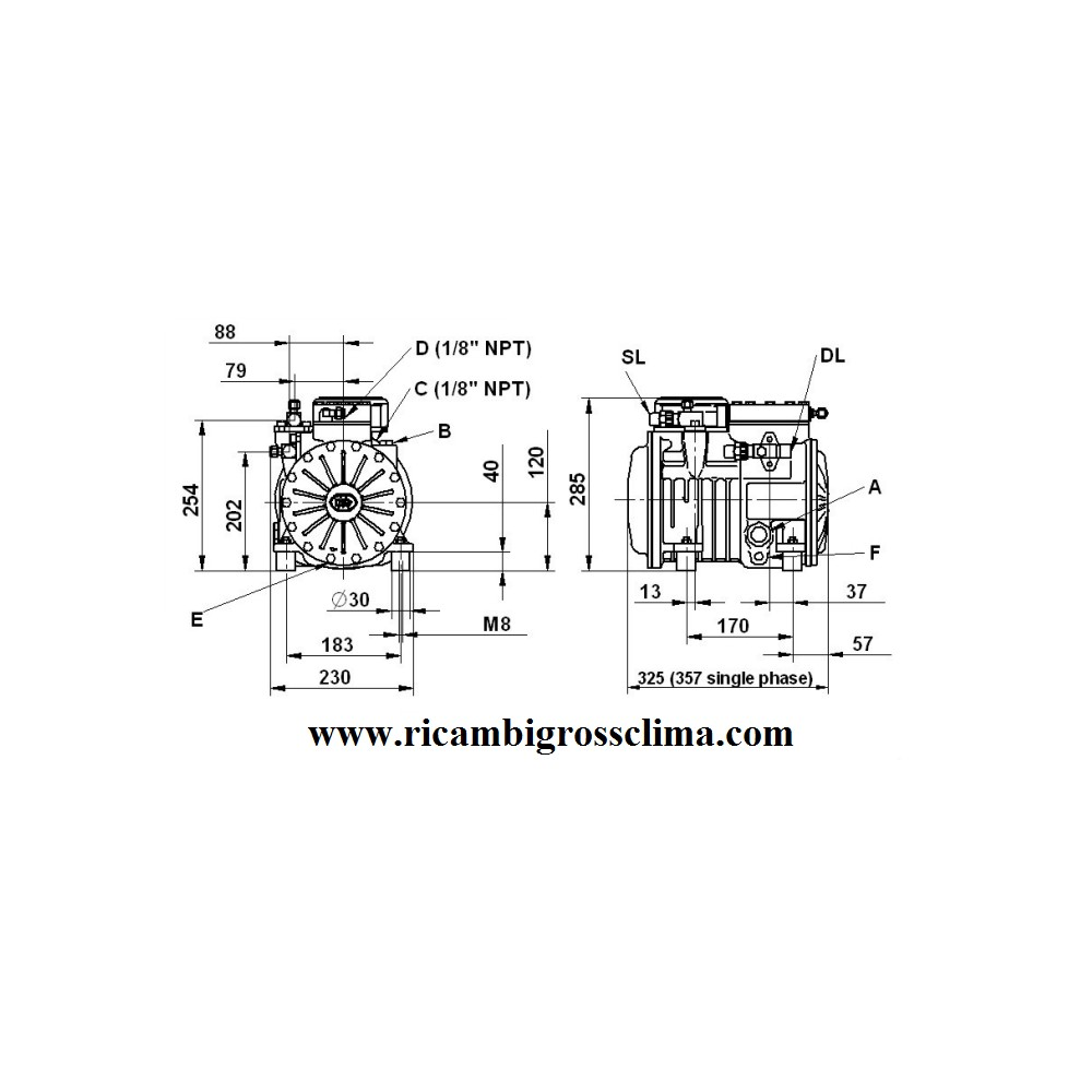 semi hermetic compressor dorin h220cc. Black Bedroom Furniture Sets. Home Design Ideas