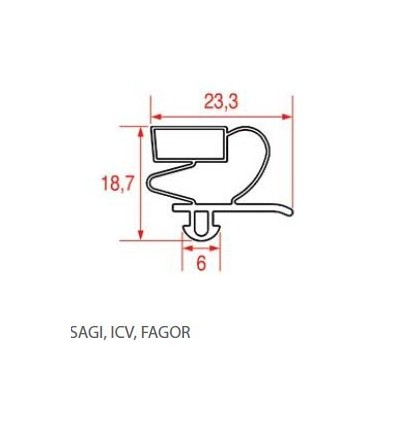 Gaskets for refrigerators sagi-icv-fagor